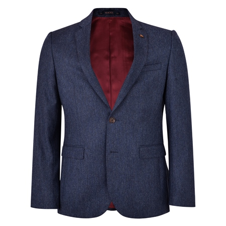 Blue Donegal Tweed 3-Piece Tailored Fit Suit Jacket  - Click to view a larger image
