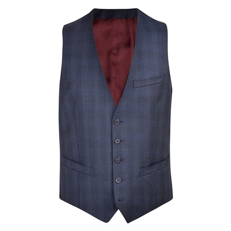 Navy Checked 3-Piece Tailored Fit Waistcoat  - Click to view a larger image