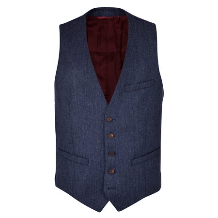 Blue Donegal Tweed 3-Piece Tailored Fit Suit Waistcoat  - Click to view a larger image