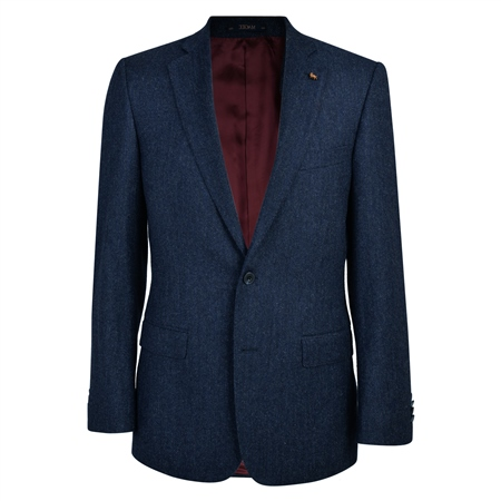 Navy Herringbone Donegal Tweed Classic Fit Jacket  - Click to view a larger image