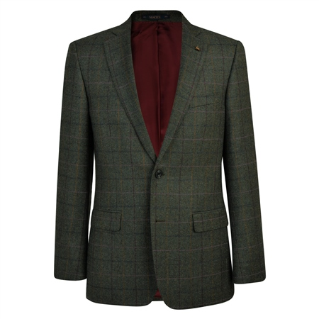 Green Herringbone Donegal Tweed Classic Fit Jacket  - Click to view a larger image