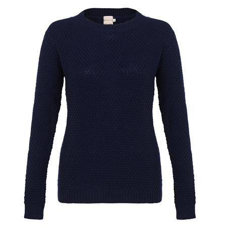 Navy Waffle Crew Neck Sweater  - Click to view a larger image