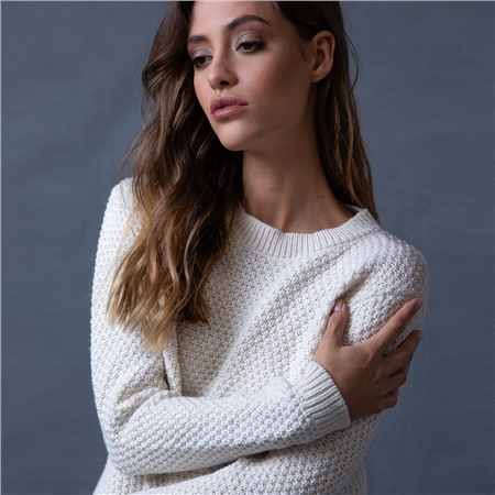 White Waffle Crew Neck Sweater  - Click to view a larger image