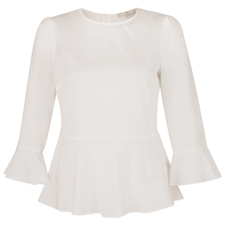 White Anne 3/4 Length Sleeve Top  - Click to view a larger image