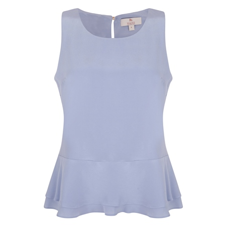 Blue Darcy Peplum Silk Top