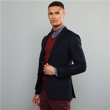 Navy Checked Donegal Tweed Tailored Fit Jacket  - Click to view a larger image