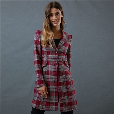 Pink Grace Checked Donegal Tweed Tailored Fit Jacket  - Click to view a larger image