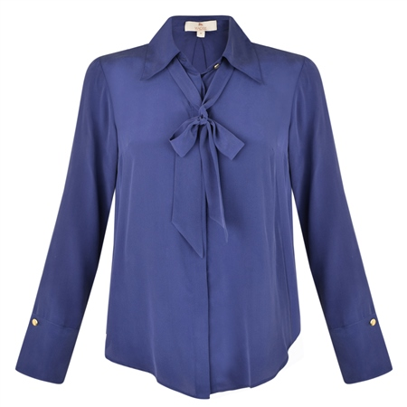 Navy Mila Silk Blouse  - Click to view a larger image
