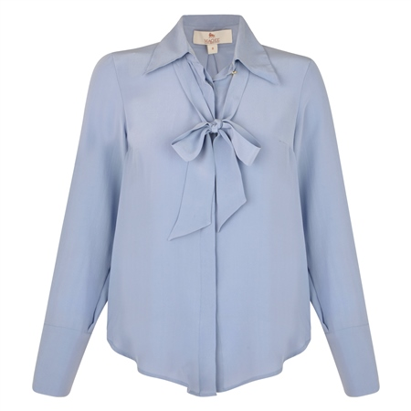 Blue Mila Silk Blouse  - Click to view a larger image