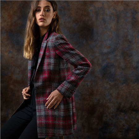 Pink Moyne Checked Donegal Tweed Jacket  - Click to view a larger image