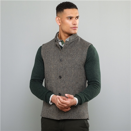 Oat Cavan Donegal Tweed Tailored Fit Gilet  - Click to view a larger image
