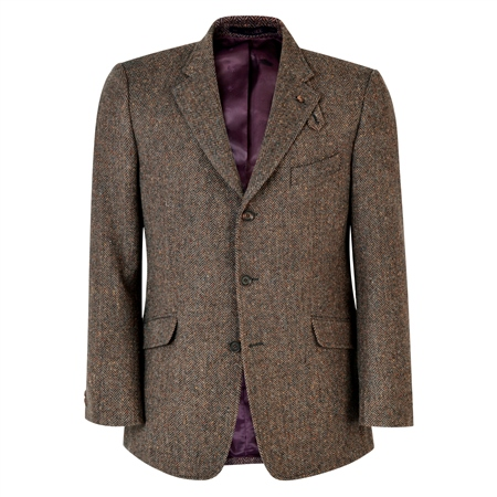 Brown Herringbone Lathkill Shooting Jacket  - Click to view a larger image