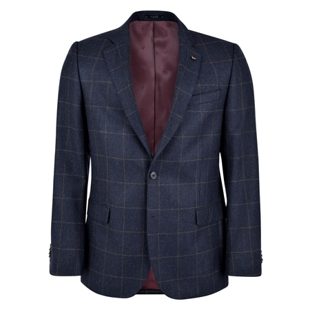 Navy Herringbone with Windowpane Check Classic Fit Jacket  - Click to view a larger image