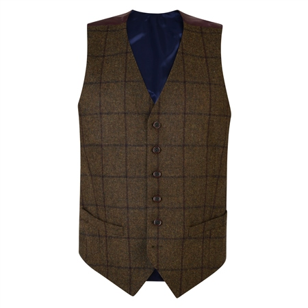 Green Country Checked Classic Fit Waistcoat  - Click to view a larger image