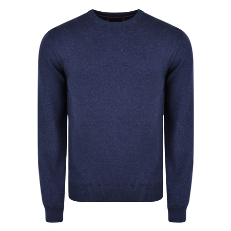 Navy Carn Cotton Crew Neck Jumper  - Click to view a larger image
