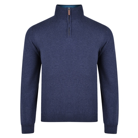 Navy Carn Cotton 1/4 Zip Jumper  - Click to view a larger image