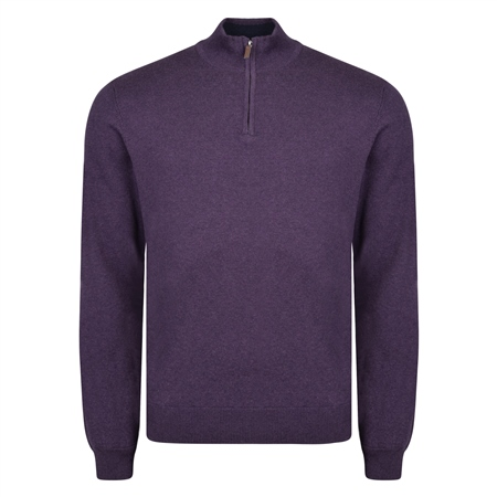 Purple Carn Cotton 1/4 Zip Neck Jumper  - Click to view a larger image