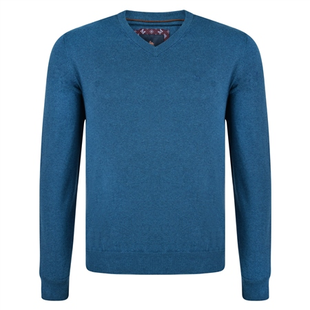 Teal Carn Cotton V Neck Jumper  - Click to view a larger image