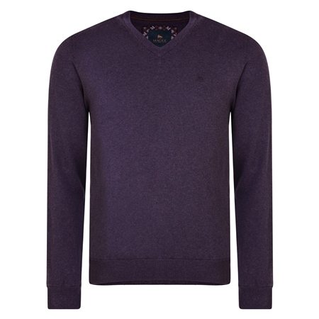 Purple Carn Cotton V Neck Jumper  - Click to view a larger image