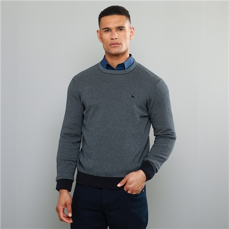 Blue Cashelenny Birdseye Crew Neck Jumper  - Click to view a larger image