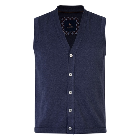 Navy Kilgole Knitted Waistcoat  - Click to view a larger image