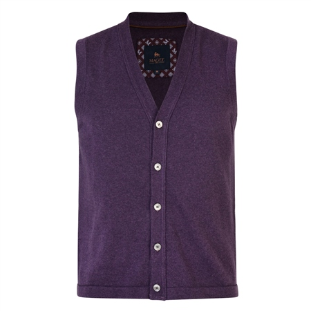 Purple Kilgoe Knitted Waistcoat  - Click to view a larger image
