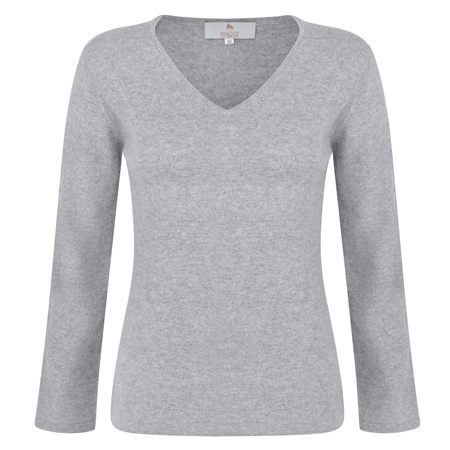 Silver V-Neck Cashmere Blend Sweater  - Click to view a larger image