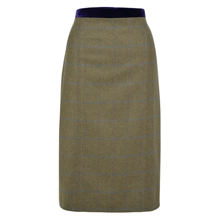 Green Dana Country Check Tailored Fit Pencil Skirt  - Click to view a larger image