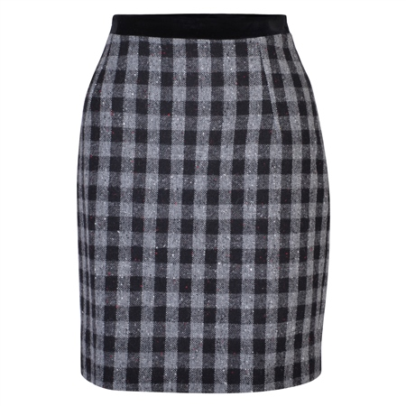Black & White Carey Salt & Pepper Donegal Tweed Skirt  - Click to view a larger image