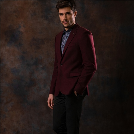Maroon Hopsack Weave Tailored Fit Jacket  - Click to view a larger image