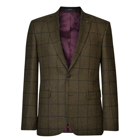 Green Country Checked Tailored Fit Jacket  - Click to view a larger image
