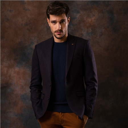 Navy & Rust Hopsack Weave Tailored Fit Jacket  - Click to view a larger image