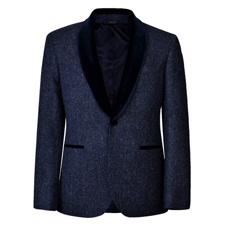 Navy Salt & Pepper Donegal Tweed Shawl Collar Tailored Fit Dinner Jacket  - Click to view a larger image