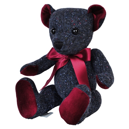 Navy Donegal Tweed Teddy Bear - Large  - Click to view a larger image
