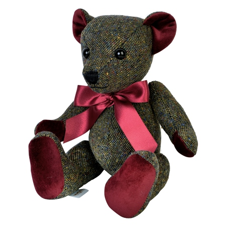 Green Donegal Tweed Teddy Bear - Large  - Click to view a larger image
