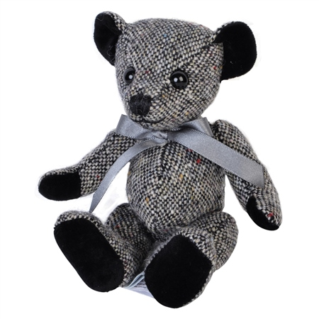 Grey Donegal Tweed Teddy Bear - Small   - Click to view a larger image
