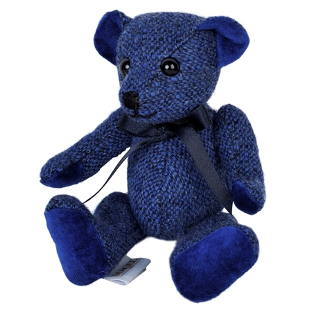 Blue Donegal Tweed Teddy Bear - Small   - Click to view a larger image