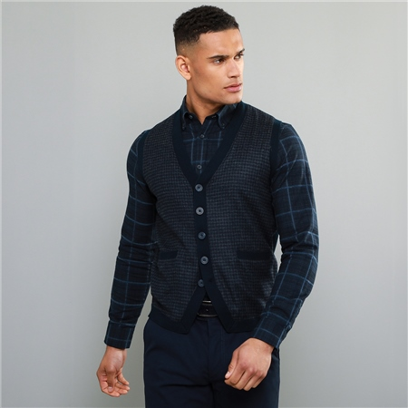 Navy Darney Tweed Knitted Waistcoat  - Click to view a larger image