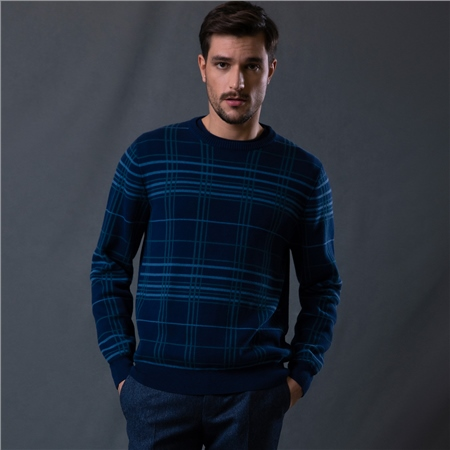 Navy Straness Jacquard Check Crew Neck Jumper  - Click to view a larger image