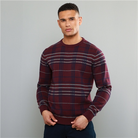 Maroon Straness Jacquard Check Crew Neck Jumper  - Click to view a larger image
