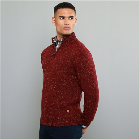 Red Tamur Donegal Fleck 1/4 Zip  - Click to view a larger image