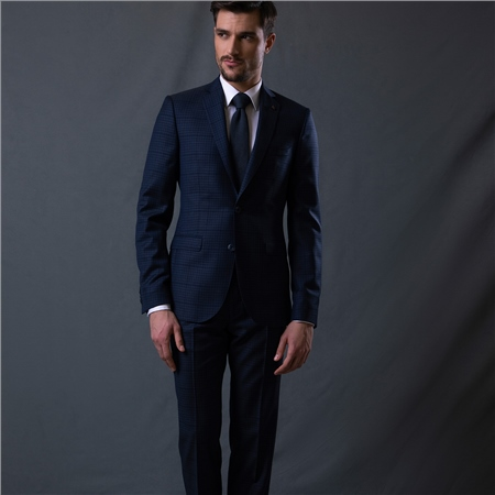 Navy Checked 2-Piece Classic Fit Suit  - Click to view a larger image