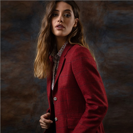 Red Alicia Checked Donegal Tweed Jacket  - Click to view a larger image