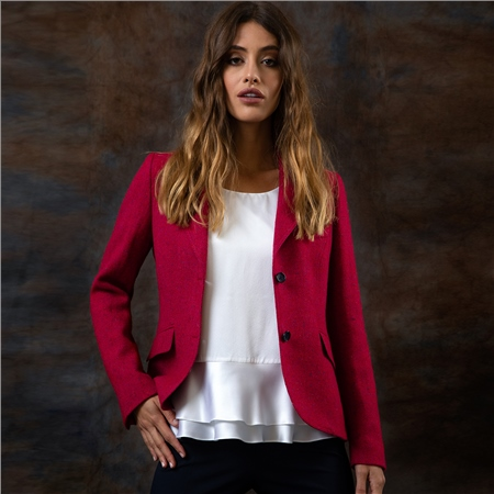 Hot Pink Lily Herringbone Donegal Tweed Jacket  - Click to view a larger image