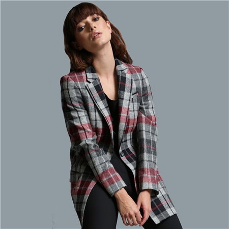 Grey, Red & Black Moyne Checked Tweed Jacket  - Click to view a larger image