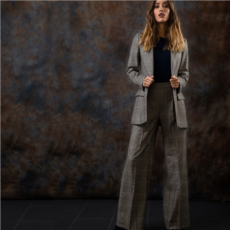 Brown Willow Checked Donegal Tweed wide leg trousers  - Click to view a larger image