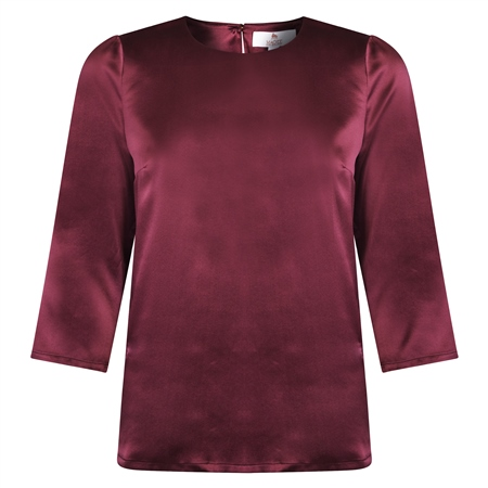 Aubergine Faye Satin Silk Top  - Click to view a larger image