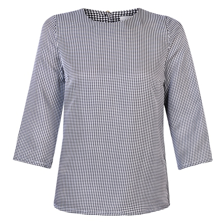 Blue & White Faye Houndstooth Silk Top  - Click to view a larger image