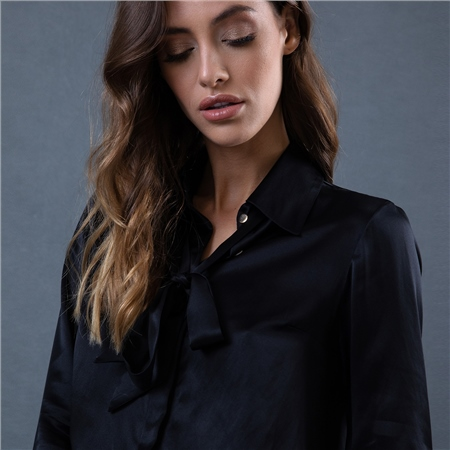 Black Mila Silk Blouse  - Click to view a larger image