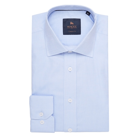 Blue Altahan Jacquard Classic Fit Shirt  - Click to view a larger image